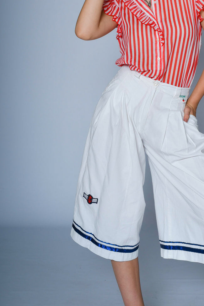 Vintage white cotton culottes in nautical style