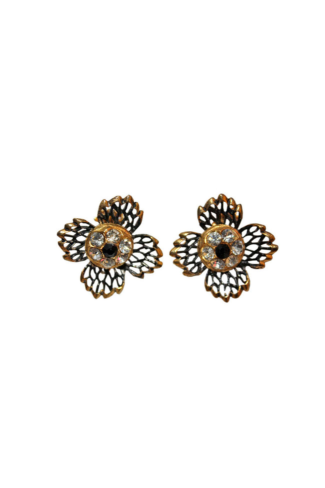 60's flower shaped vintage earrings - SoLovesVintage