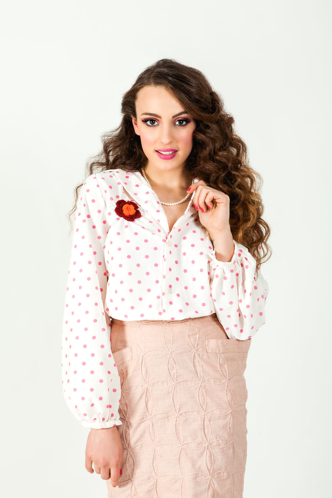 Poppy polka dot shirt