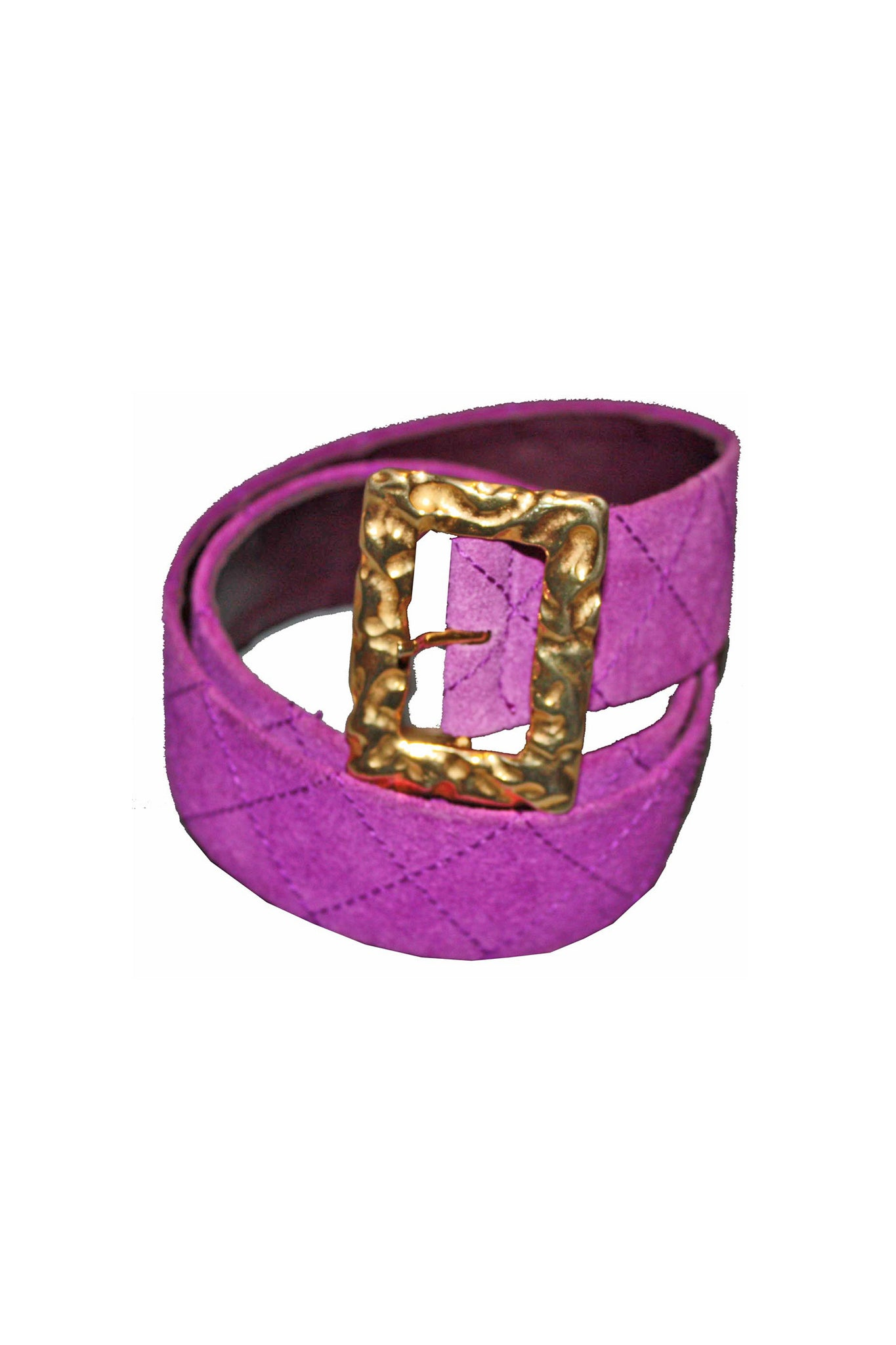 Vintage 60's purple suede belt with gold buckle - SoLovesVintage