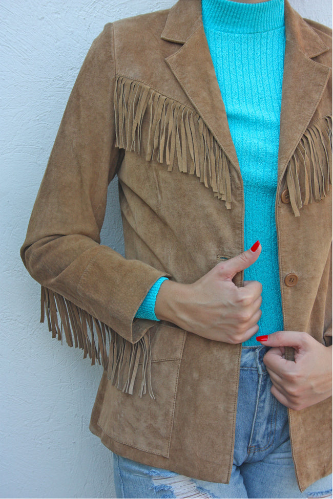 Vintage suede tan fringe jacket - Shop SoLovesVintage