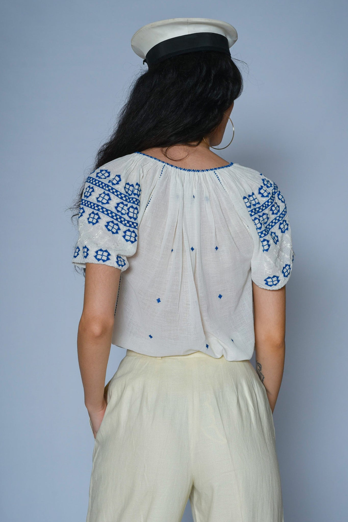 Sandy gauze peasant blouse