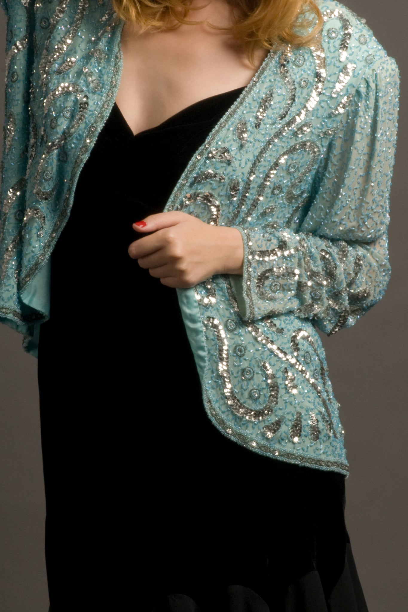 Vintage sequin jacket in blue - SoLovesVintage