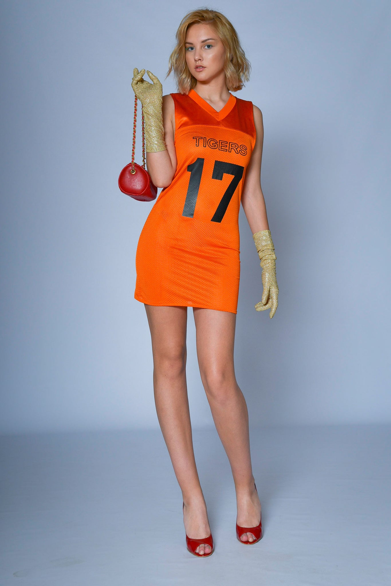 Vintage orange 80's athletic dress - SoLovesVintage