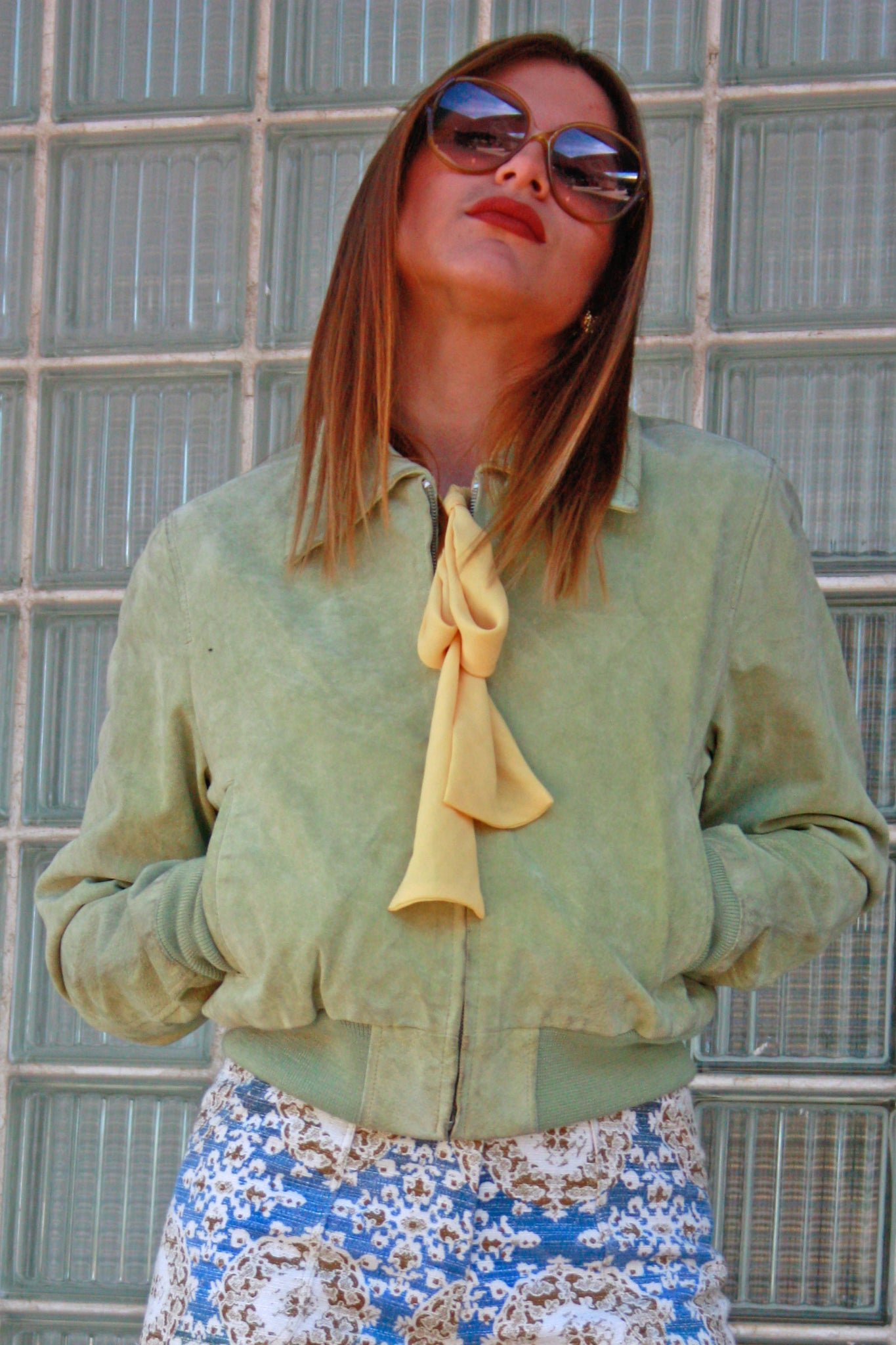 70's style suede green bomber jacket - SoLovesVintage