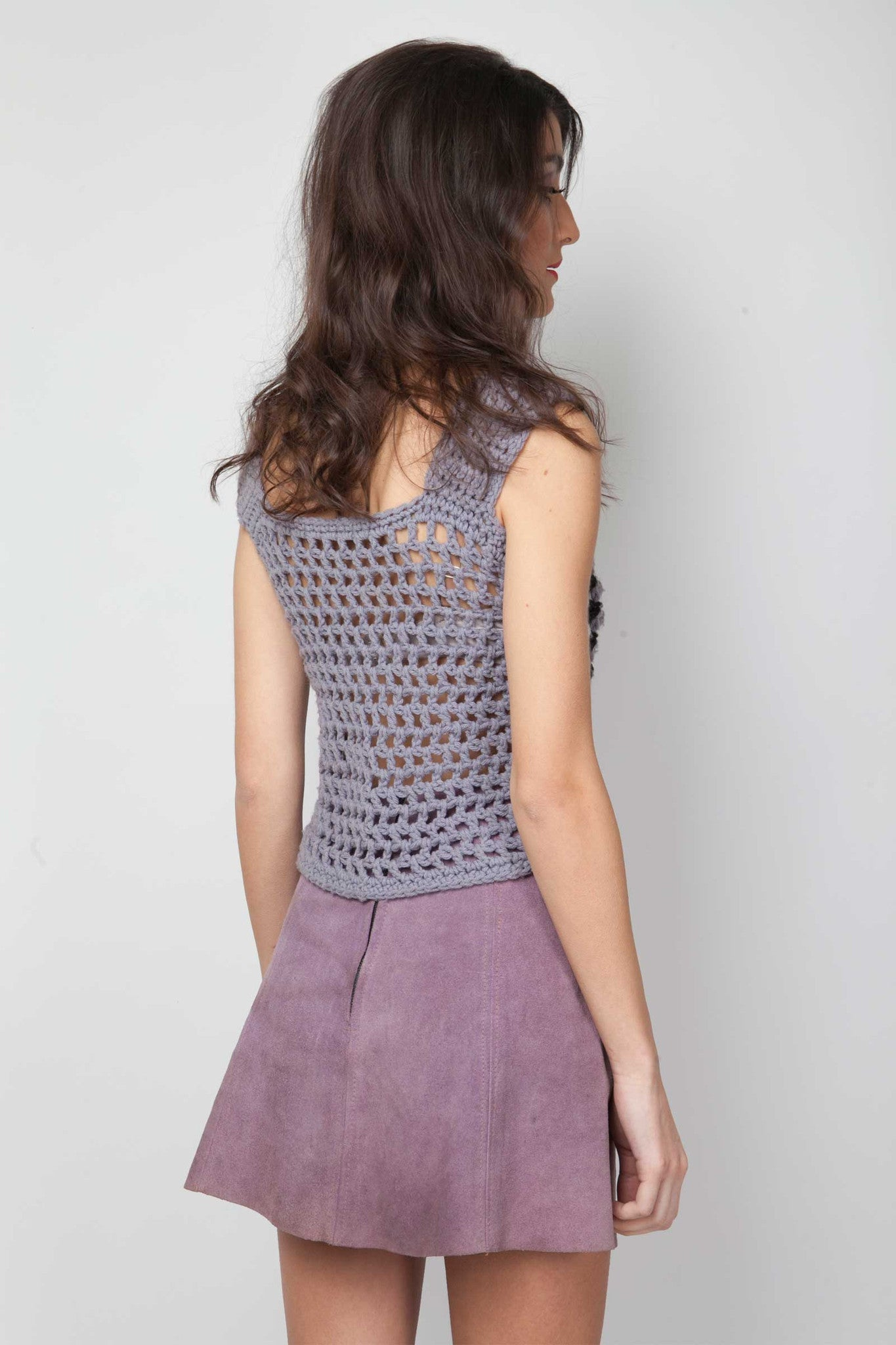 Purple mini vintage skirt - www.solovesvintage.com