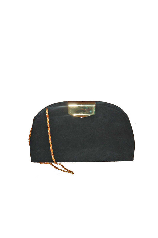 Black vintage suede clutch with gold chain - SoLovesVintage