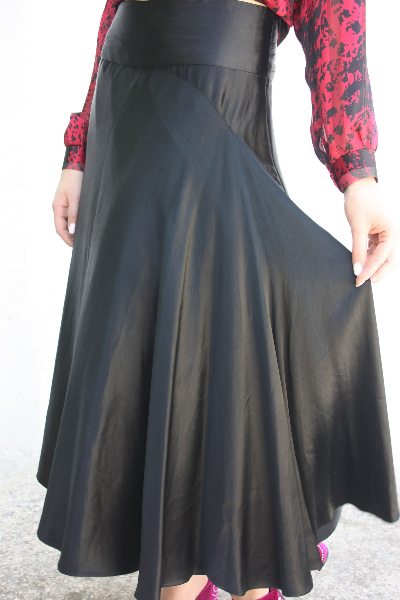 Vintage black satin bias cut skirt - Shop SoLovesVintage