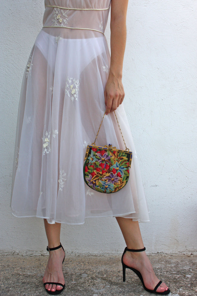 Vintage white embroidered retro dress - Shop SoLovesvintage