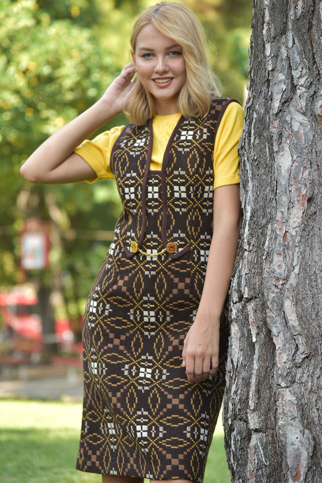 Vintage wool 70's pinafore dress - SoLovesVintage