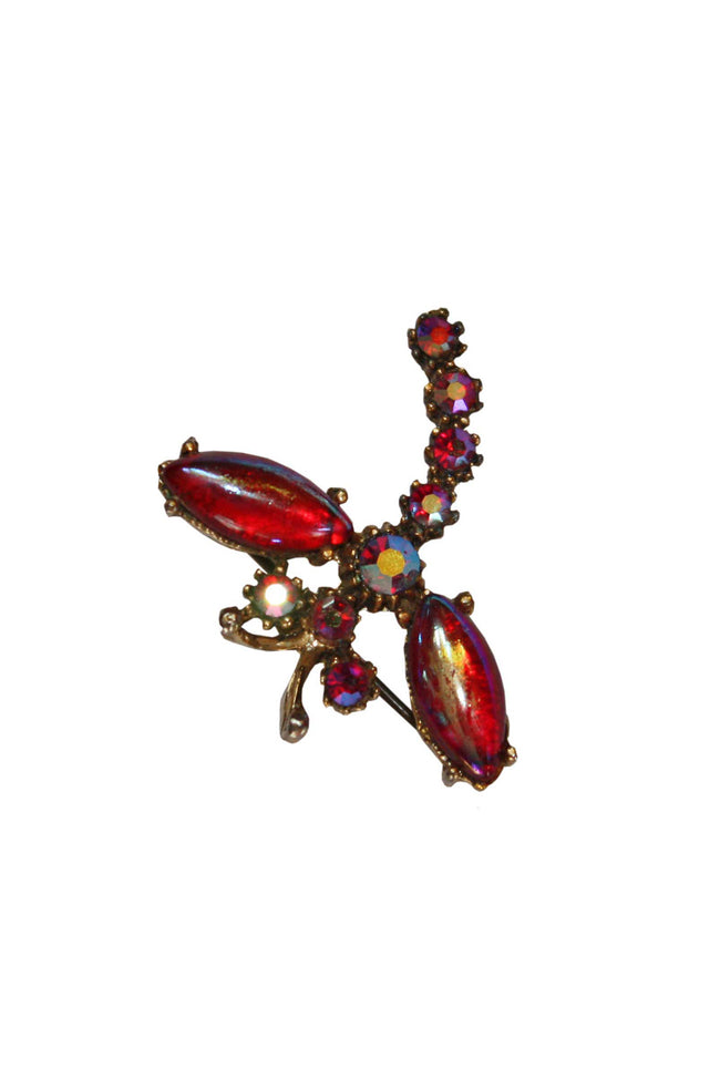 Vintage Dragonfly red brooch