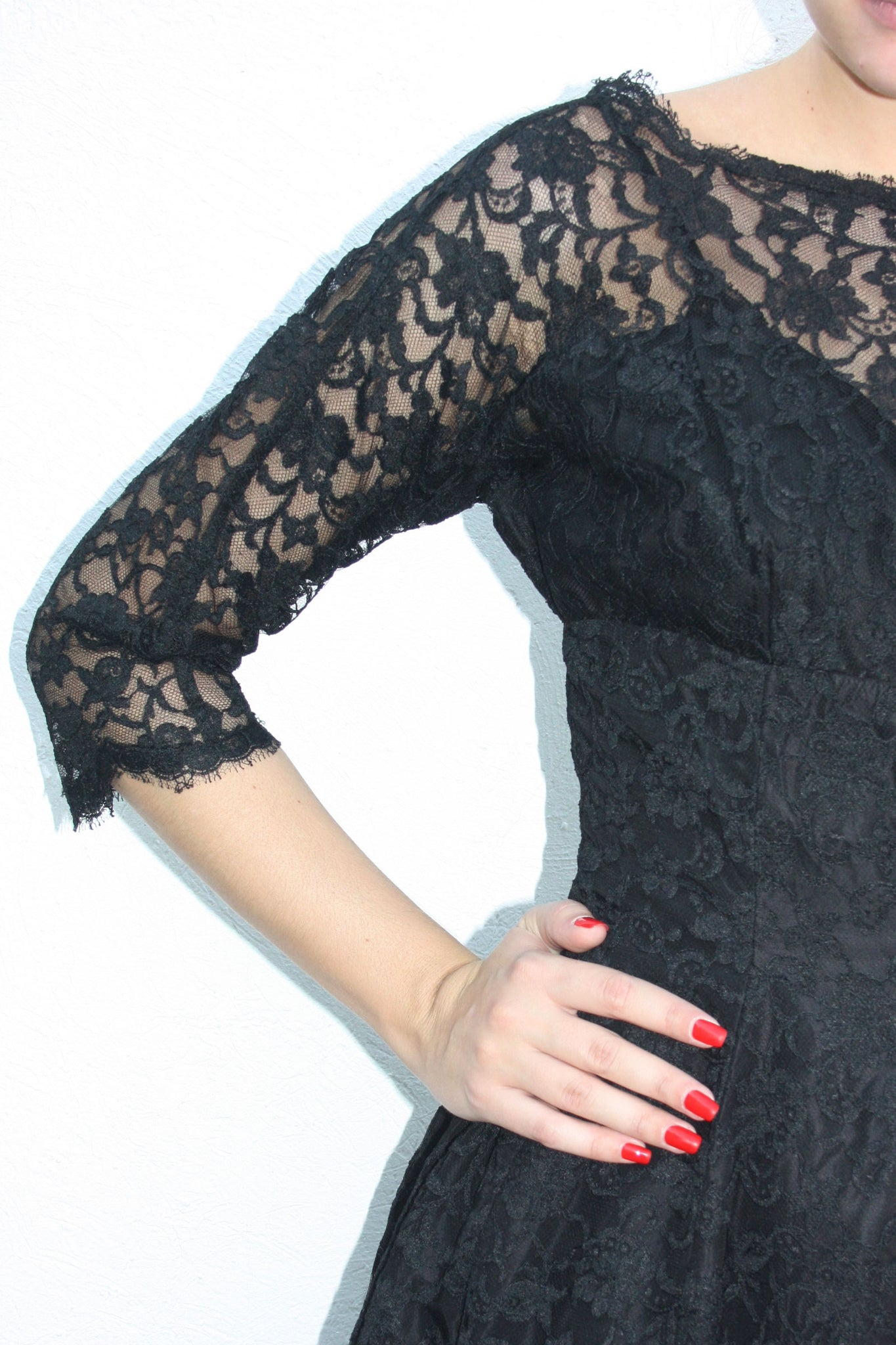 40's black vintage lace dress - Shop SoLovesVintage