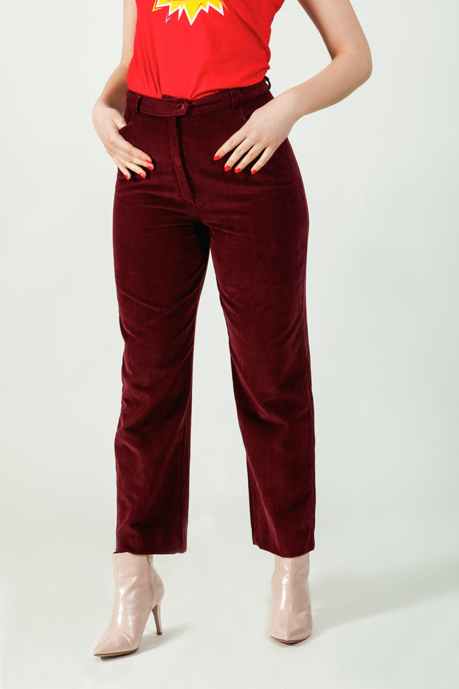 Vintage burgundy corduroy trousers - SoLovesVintage