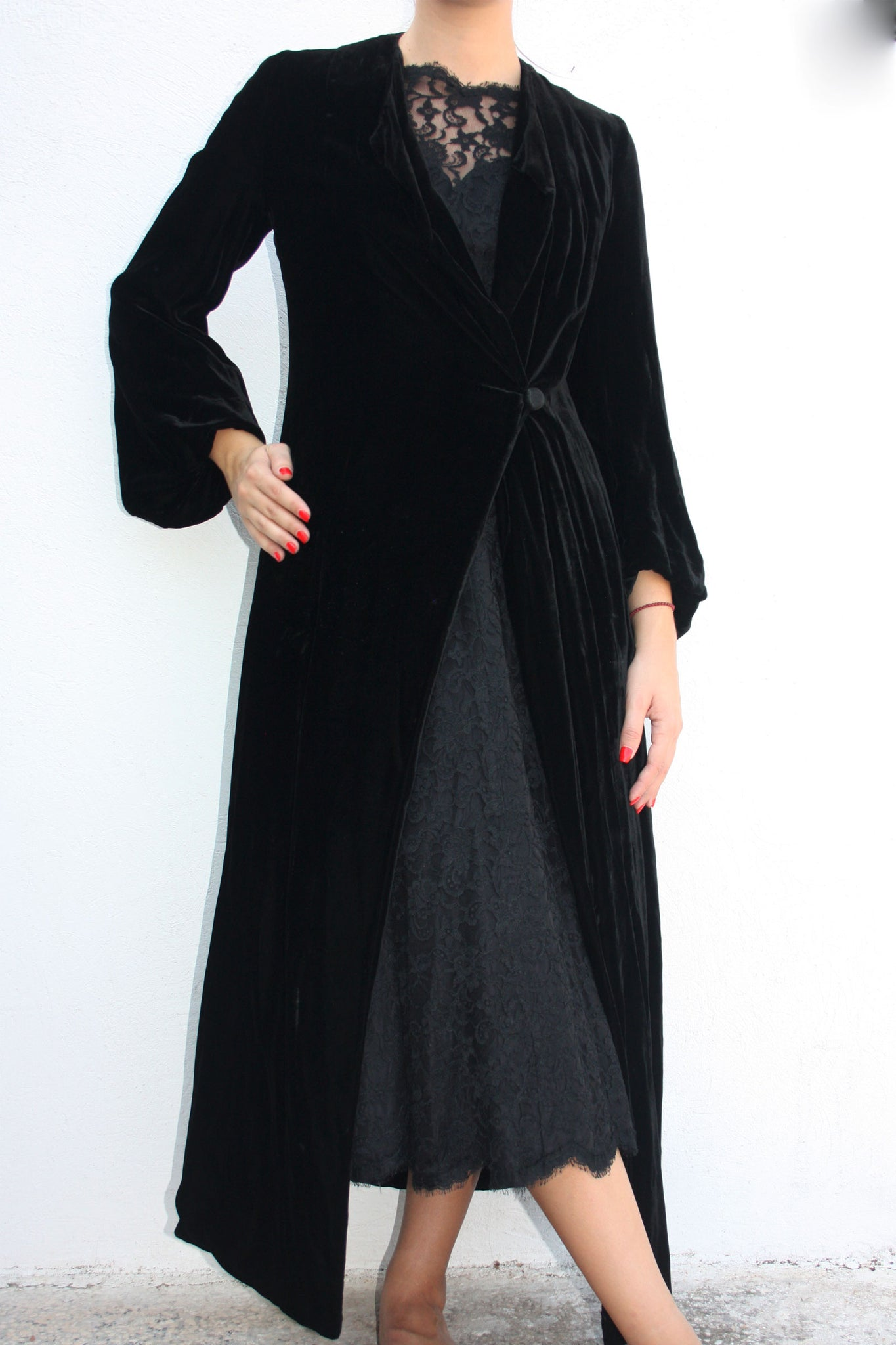 30s black velvet opera coat - Shop SoLovesVintage