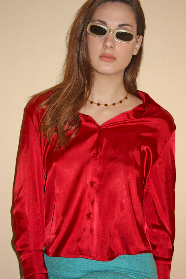 Vintage 80's satin shirt in red - SoLovesVintage