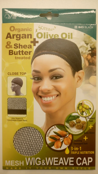 M&M HEADGEAR INC-WIG & WEAVE CAP SHEA BUTTER & OLIVE OIL-BLACK