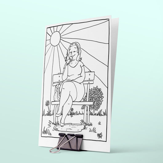 Colouring page - On a bench in the sun