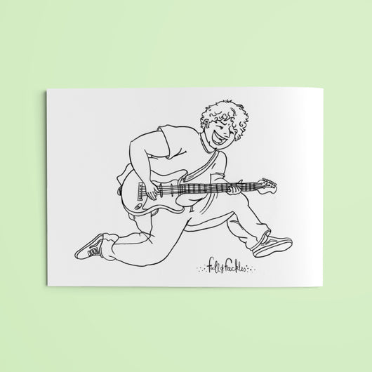 Colouring page - Guitar guy