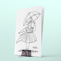 colouring page spring rain