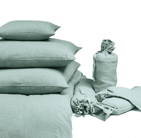 Duvet Cover · Pure Washed Linen · Light Green