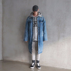 KLOTH,KLOTH HIGH QUALITY SHERPA LINNING LONGLINE DENIM JACKET | CHANCEMAKER STUDIO.