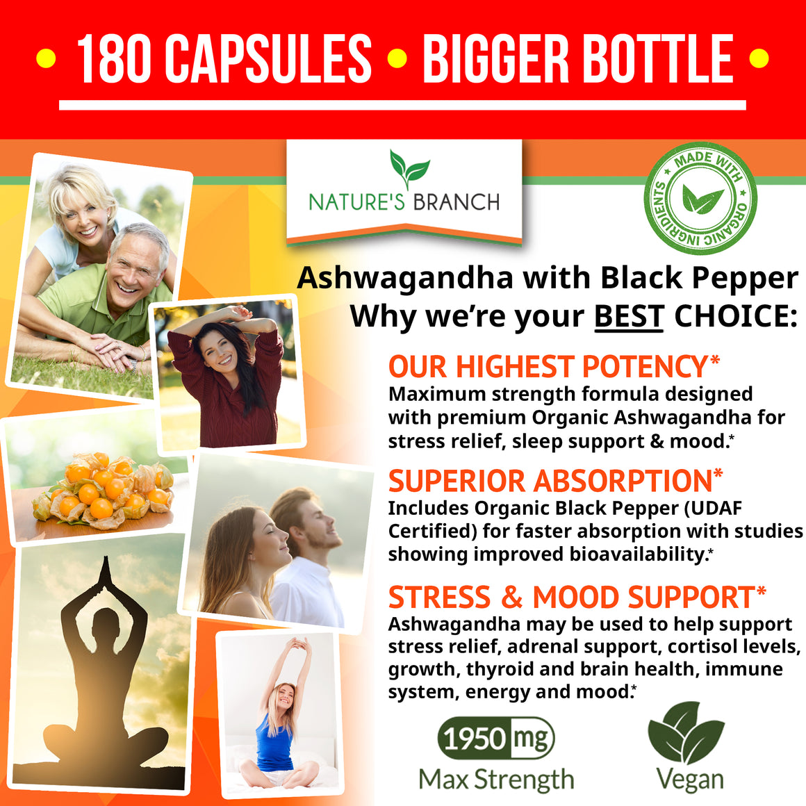 ORGANIC Ashwagandha and Black Pepper For Stress & Anxiety Relief (1950mg)