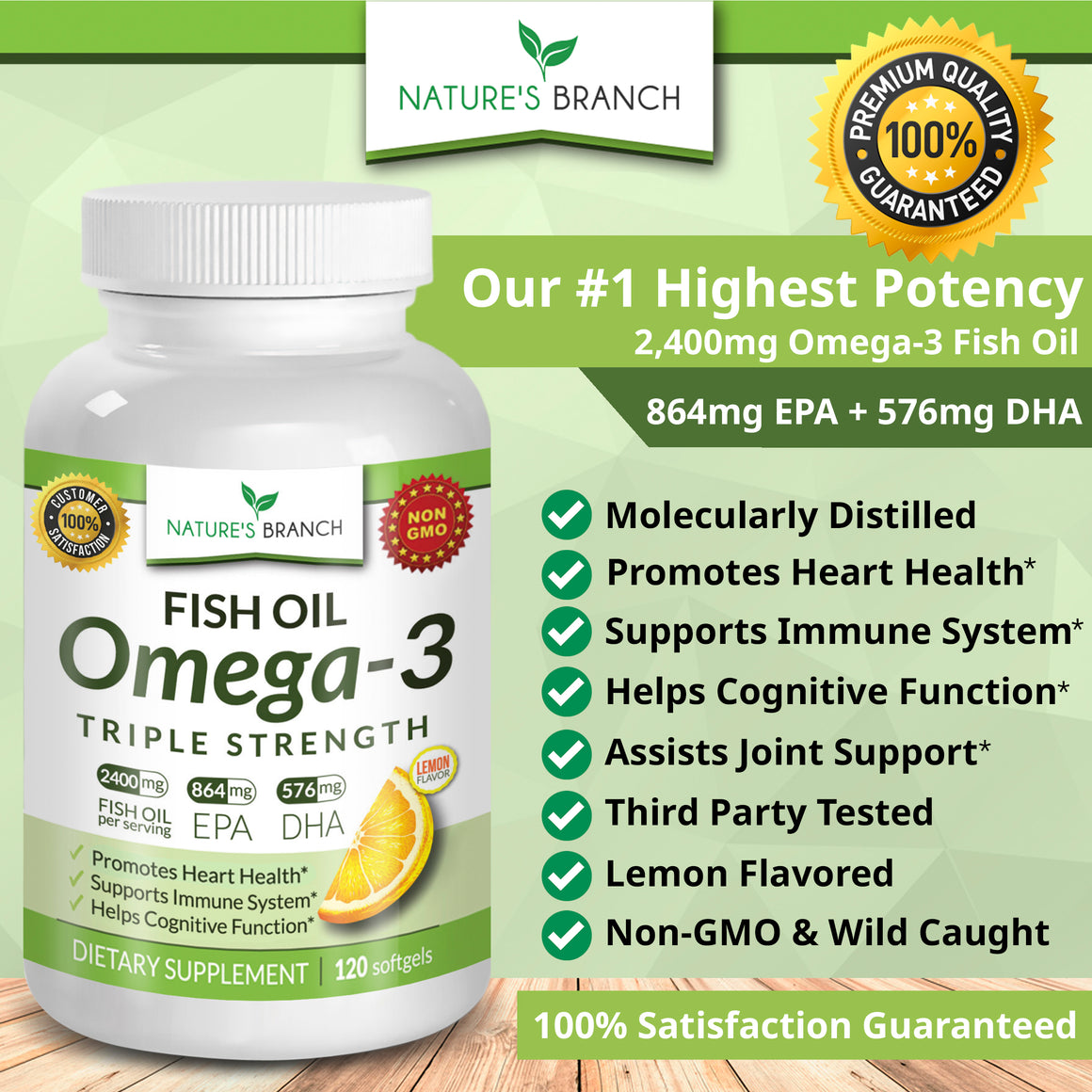TRIPLE STRENGTH Omega 3 Fish Oil 2500mg (Highest Potency EPA + DHA)