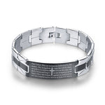 Charcoal & Silver Lord's Prayer Stainless Steel Bracelet - Jesus Revolution Co.