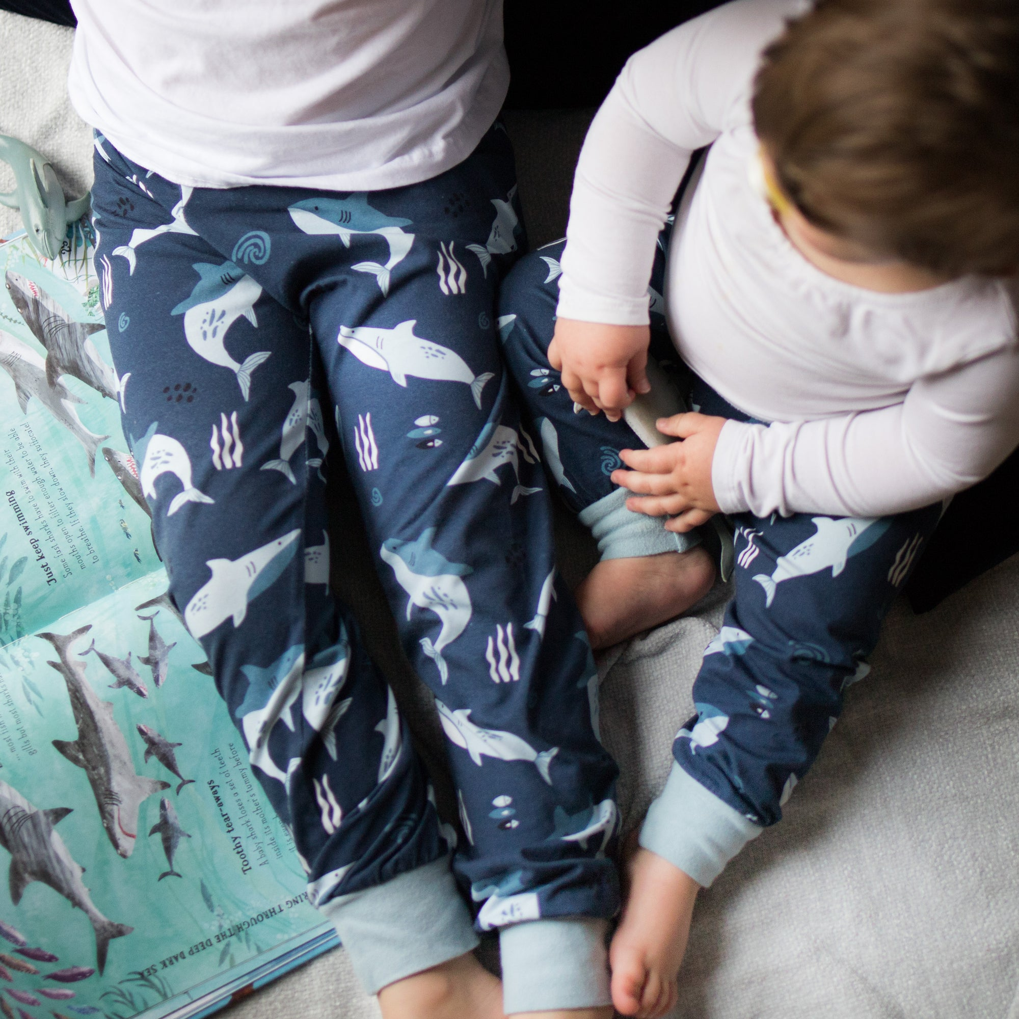 Blue Sharks Organic Leggings