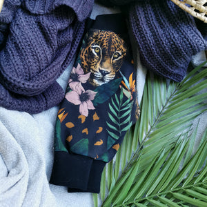 Jungle Leopard Organic Leggings Black Cuff