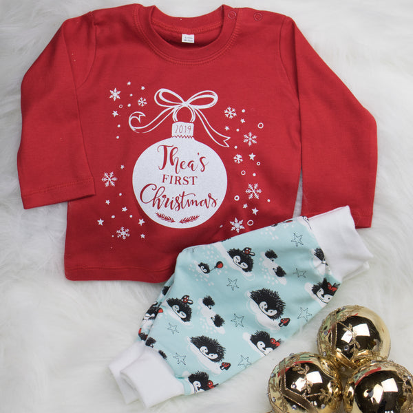 Baby's 1st Christmas T-shirt (Personalised) Red