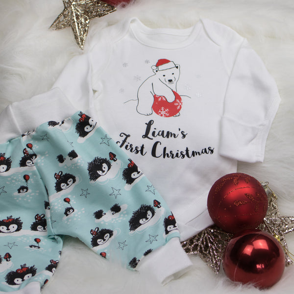 Baby's 1st Christmas Polar Bear Bodysuit (Personalised)