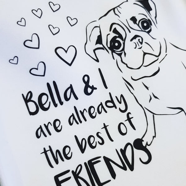 Illustrated Pug Dog (Personalised)
