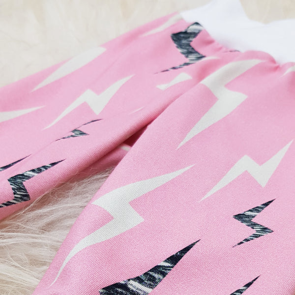 Organic Baby Leggings (Lightning Bolt - Pink)