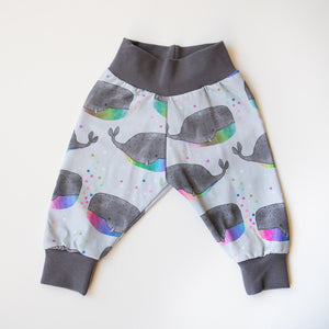 Rainbow Whales Organic Leggings (Grey or Pink Cuff)