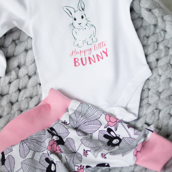 Organic Baby Leggings (Pink Bunnies & White Cuff)