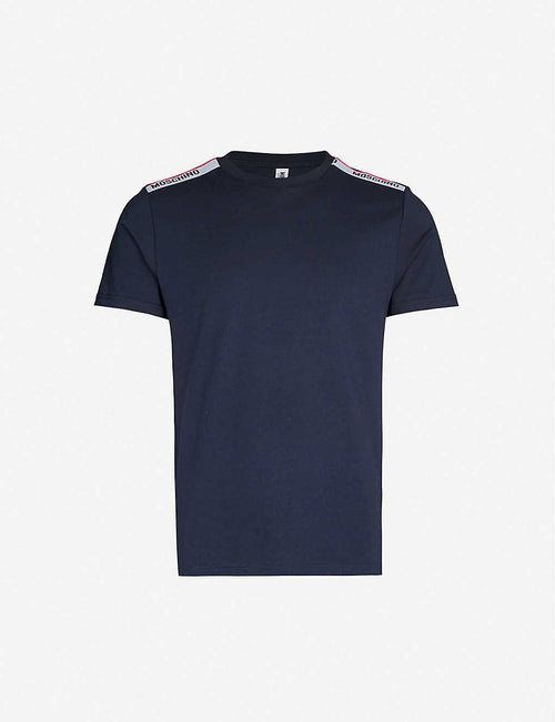 Tape-detailed stretch-jersey t-shirt