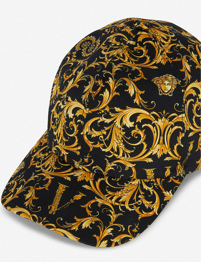 Baroque-print cotton-blend cap
