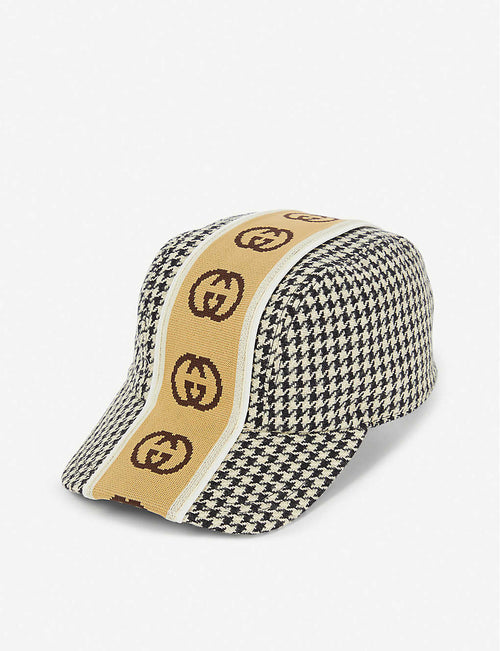 Houndstooth wool baseball cap