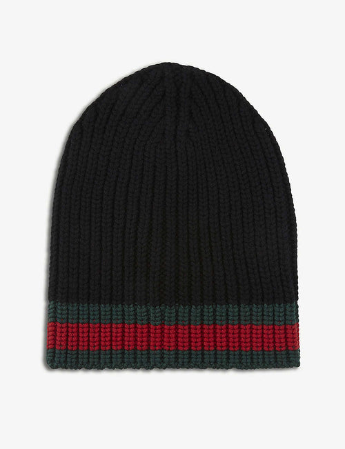 Striped knitted wool beanie