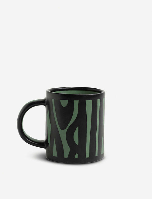 Wood patterned earthenware mug
