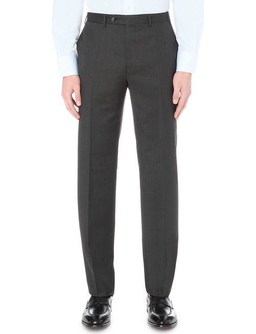 Regular-fit straight wool trousers
