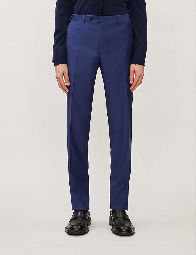 Regular-fit slim wool trousers
