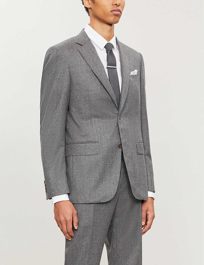Regular-fit single-breasted wool blazer