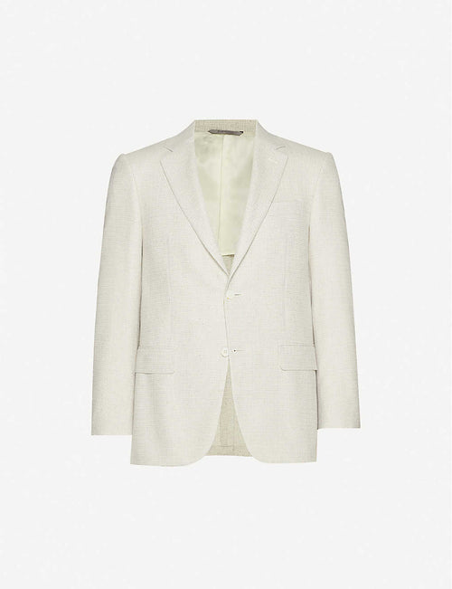 Relaxed tailored-fit silk-and-wool-blend jacket
