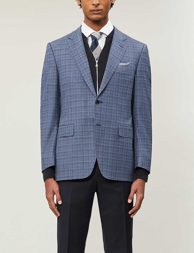 Checked single-breasted wool-blend blazer