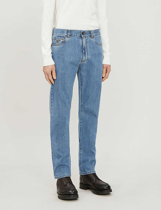 Regular-fit faded straight-leg jeans