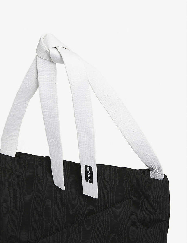 Moire karate-strap tote bag