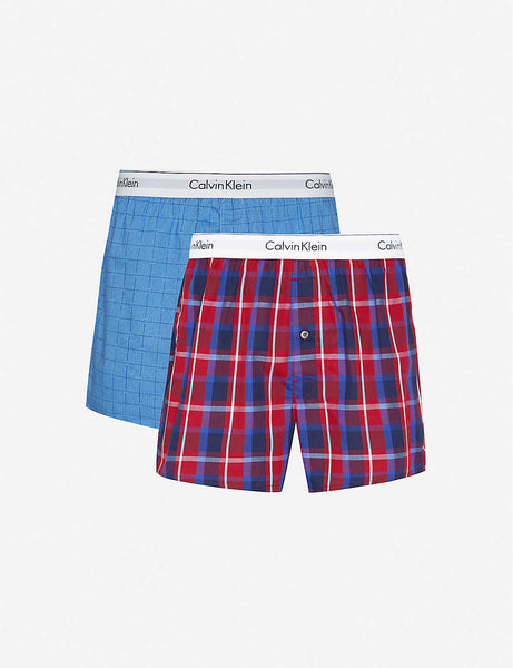 Checked logo-print slim-fit cotton boxers pack of two