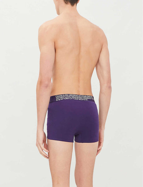 Logo-print slim-fit stretch-cotton trunks